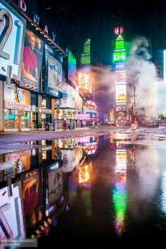 Puddle at Times Square, New York City, New York, A - Puddle at Times Square, New York City, New York, America