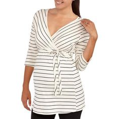 d9f0379edfcaa Oh! Mamma - Oh! Mamma Maternity 3/4 Sleeve Surplice Top with Belt--Perfect  for Nursing - Walmart.com