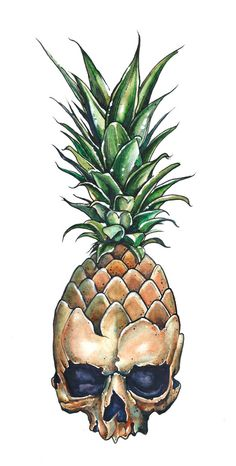 I am dumbfounded by the vast proliferation of pineapple skull art. If it ever ha… I am dumbfounded by the … Pencil Drawings, Art Drawings, Drawings Of Skulls, Bad Trip, Pineapple Tattoo, Pineapple Drawing, Skeleton Art, Fruit Art, Skull Tattoos