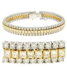 18k Two-Tone 13.11 Ct Rough Diamond Bracelet - JewelryWeb - http://www.wonderfulworldofjewelry.com/jewelry/bracelets/18k-twotone-1311-ct-rough-diamond-bracelet-jewelryweb-com/ - Your First Choice for Jewelry and Jewellery Accessories