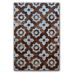 Natural Rugs Marrakeche Brown/Blue Cowhide Area Rug Rug Size: Rectangle x