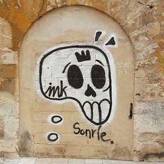 Even more Mallorcan graffiti! These cute little works of art are all over Palma de Mallorca. Here's a skull.  #palma #palmademallorca #Spain #mallorca #graffiti #graffitiart #mural #skull