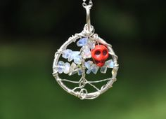 Moonstone and Red Howlite Skully Tree of Life by WitchsChamber