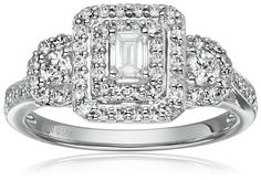 14k White Gold Diamond Emerald Shape Halo Frame Engagement Ring (1cttw, H-I Color, SI2-I1 Clarity), Size 7 >>> New and awesome product awaits you, Read it now  : Engagement Rings