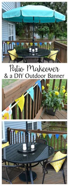 Patio Makeover & an Outdoor Banner - Amy Latta Creations Cool Diy Projects, Outdoor Projects, Outdoor Banners, Outdoor Decor, Living Room Table Sets, Screen House, Patio Makeover, Diy For Teens, Diy Home Decor