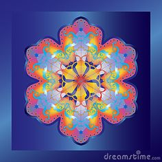 Ethnic decorative ornament, geometric rainbow flower on blue background. Abstract background. Digital illustration