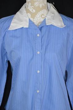 Quizz Again Womens Large Blue White Striped Long Sleeve Button Down Fitted Shirt #QuizzAgain #ButtonDownShirt #Casual