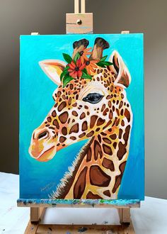 Cute Canvas Paintings, Diy Canvas Art, Acrylic Painting Canvas, Animal Paintings, Art Painting Gallery, Painting & Drawing, Cool Art Drawings, Art Drawings Sketches, Giraffe Art