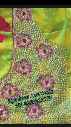 Blouse design Hand Work Design, Mirror Work Blouse, Wedding Saree Blouse Designs, Aari Work Blouse, Maggam Work Designs, Simple Blouse Designs, Blouse Models, Hand Embroidery Designs, Blouse Patterns