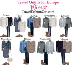 Check out these travel outfit ideas for backpacking Europe in Winter - shows you what to wear in different cities