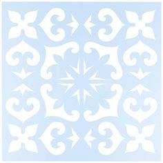 """Clear Scraps CSSMMEXTILE12 Stencils, 12"""" x 12"""", Mexican Tile, Blue"""