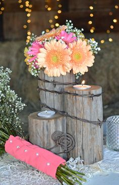 Rustic country western wedding tealight centerpiece/Home Decor. Reclaimed fence post & barbed wire. Authentic from 1923 farm/ranch.  PTWS