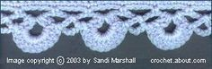 Easy Crochet Scallop Edging. (be patient, the pattern wont emerge until row 3)