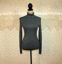 Vintage Dark Gray Turtleneck Sweater XS Small by MagpieandOtis