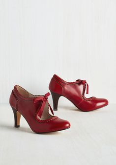Live to Tell the Fairytale Heel. Foraying new style frontiers can feel like a wild ride, but with these brick red pumps by Chelsea Crew completing your look, youll thrive! #red #wedding #modcloth $74