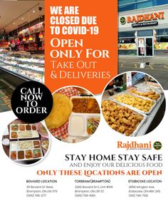 Rajdhani Sweets & Restaurant is open for only for takeout & deliveries! Stay Home & Stay Safe and enjoy our delicious food. Stay Safe, Delicious Food, Vegetarian Recipes, Delivery, Sweets, Restaurant, Sweet Pastries, Twist Restaurant, Goodies