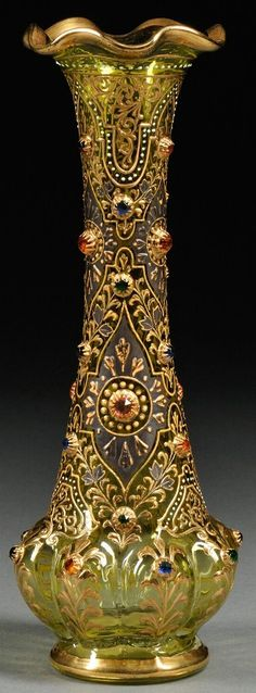 Bohemian Glass; Vase, Jeweled, Polychrome Enamel, Faceted Glass & Gilt, Green, 10 inch. Czechosolvakia, c.1875-1908