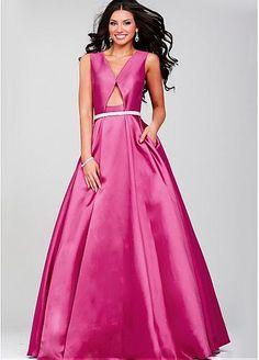 Elegant Taffeta V-neck Neckline A-line Prom Dresses with Beadings & Rhinestones #blowout