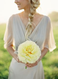 Bridesmaid with Braid and Yellow Flower - Wedding Style