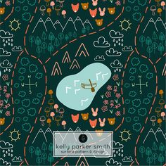 A campy & whimsical map pattern by Pattern Camper & Surface Pattern Designer Kelly Parker Smith of Hello Paper Co.
