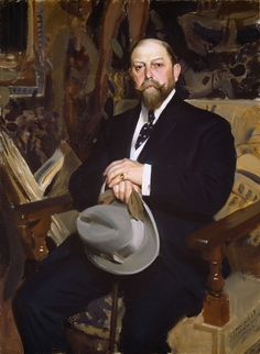 Anders Zorn - Hugo Reisinger wears a dark suit with a white waistcoat and dotted necktie. He carries the fashionable Homburg hat, 1907, painting by Anders Zorn, 1907https://en.wikipedia.org/wiki/1900s_in_Western_fashion