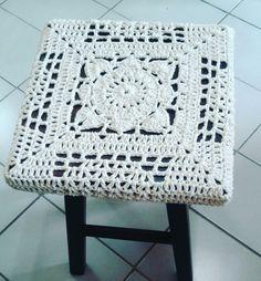 Crochet  cover for square stool  stool