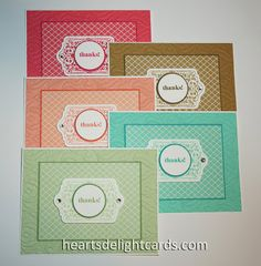 handmade notecard set ... Heart's Delight Cards: A Big Batch of Thanks ... used the 2013-2015 in-colors, but any combo would be lovely ... monochromatic ...  like the use of a color in the same tone but much deeper color is used to make the mat lines for each card ... Stampin' Up! comes through with coordinating inks and papers ...