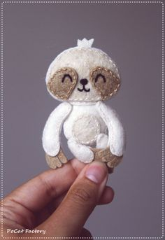 Felt Pocket Sloth doll brooch by PoCatFactory on Etsy