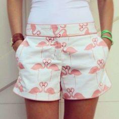 Fenicotteri rosa look - Shorts con stampa fenicotteri