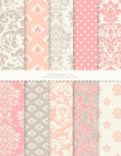 Digital Paper Damask Digital Scrapbook Paper Pack by VNdigitalart…