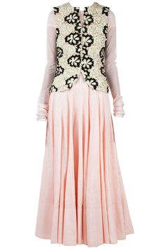 Ridhi Mehra presents Light pink anarkali with black and white beaded jacket available only at Pernia's Pop-Up Shop. Indian Attire, Indian Ethnic Wear, Pakistani Outfits, Indian Outfits, Ethnic Fashion, Indian Fashion, Desi Wear, Beaded Jacket, Desi Clothes