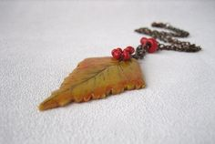 Yellow autumn leaf pendant  polymer clay leaf by MosaicArtJewelery