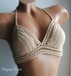 Crochet bikini top camel color bikini top