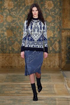 Moroccan inspired sweater and socks with pumps for the Tory Burch Fall 2015 Collection