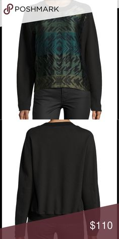 """Risto """"Flake"""" Jacquard Sweatshirt NWT, black sweatshirt with various shades of green/jacquard pattern. Printed Knit sweatshirt, round neckline, long sleeves, ribbed neckline and back hem, pullover style. Front panel: 66% polyester, 20% cotton, 14% polyamid. Back/sleeve: 100% cotton. Made in Macedonia. Hand wash/dry clean only. Pics of actual item to follow. Risto Tops Sweatshirts & Hoodies"""
