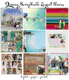 Disney Scrapbooking Page Layout Ideas for paper, digital, pocket, and Project Life