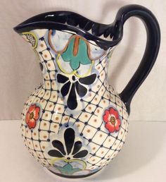 "Tierrafina Melissa Collection Handcrafted Pitcher Pottery 10"" Floral Southwest 