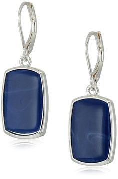 Nine West Silver-Tone and Denim Large Drop Earrings -- Do hope you actually love the image. (This is an affiliate link) Rose Gold Earrings, Sterling Silver Earrings, Women's Earrings, Fashion Earrings, Fashion Jewelry, Designer Earrings, Nine West, Dangles, Jewelry Design