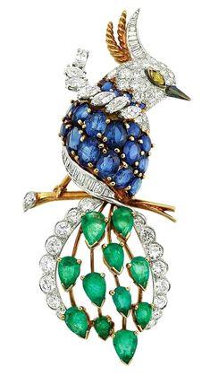 Gold, Platinum, Diamond and Gem-Set Bird Brooch