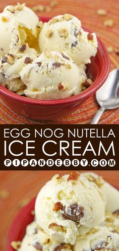 Egg Nog Nutella Ice Cream | The most festive holiday ice cream dessert you will ever meet!