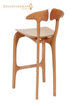 Brian Fireman Design ~ Swallowtail barstool ~ Bar height stool shown with cherry frame and maple seat.