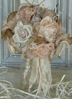 Handmade Spark - mybrokenart - Bridal Fabric Flower Bouquet Champagne and Ivory Custom Order any color Fabric Bouquet, Fabric Flowers, Paper Flowers, Material Flowers, Diy Flowers, Bridal Fabric, Wedding Fabric, Vintage Bridal Bouquet, Our Wedding