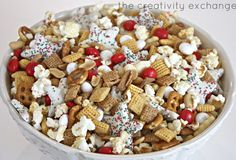 Sweet and salty Christmas snack mix. Great snack for watching Christmas movies or gift giving!