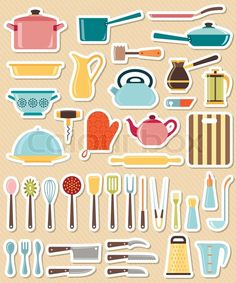 Stock vector of 'Set of kitchen utensil and collection of cookware icons, cooking tools and kitchenware equipment'