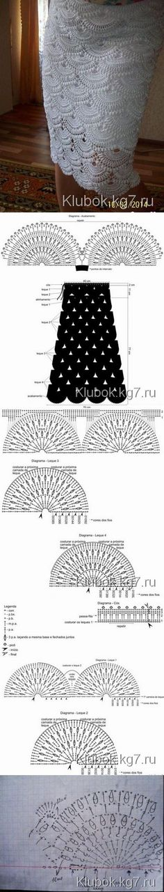 Crochet Stitches and Knitting Crochet Motifs, Crochet Diagram, Crochet Chart, Crochet Lace, Crochet Stitches, Crochet Patterns, Crochet Skirts, Crochet Clothes, Mode Crochet