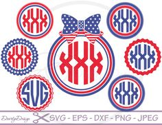 4th of July monogram frames, monogram svg, 4th of july svg, scan n cut,  svg bundle, vector, svg files for silhouette, files for cricut, dxf