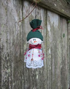 Hand Painted Wooden White Snowgirl Ornament by kimgilbert3 on Etsy, $9.95