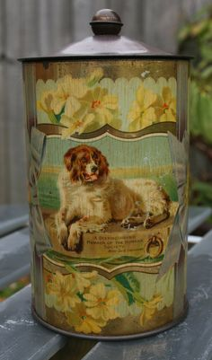 Fantastic rare Victorian caddy or biscuit tin with portraits of dogs by Tinternet Vintage Tins, Vintage Antiques, Tin Art, Tin Containers, Tea Tins, Tin Toys, Rare Antique, Porch Decorating, Biscuits