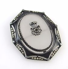 Vintage Sterling Silver Camphor Glass Marcasite Black Enamel Brooch Pin│RS I
