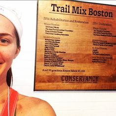 Erica with the donor sign at Trail Mix Boston